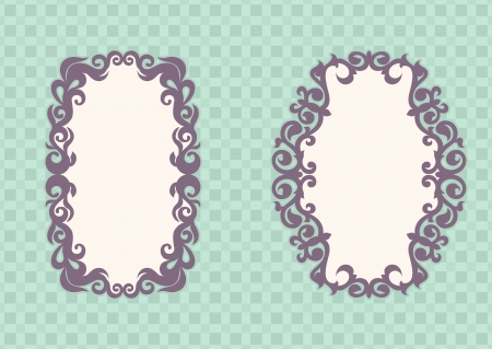 two purple frame on the turquoise checkered background Stock Vector - 17289977
