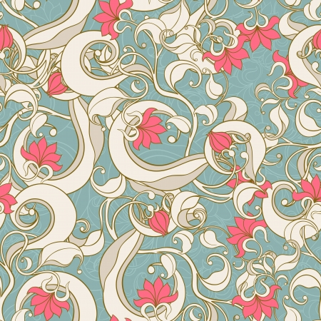 seamless picture with floral pattern on turquoise background Stock Vector - 17289985