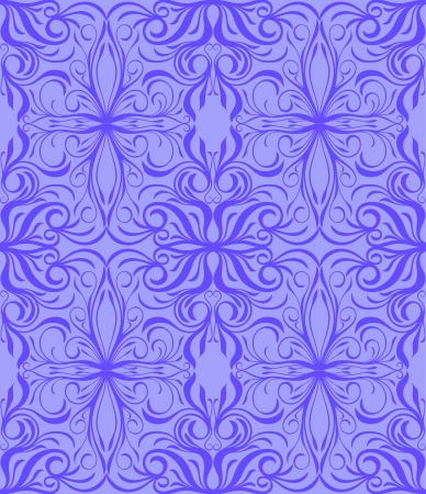 Seamless purple background and floral pattern Vector