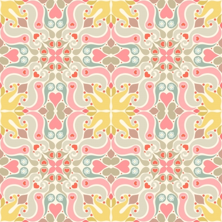 Seamless wallpaper with geometric patterns and hearts Stock Vector - 17339299