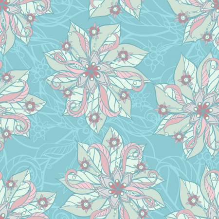 Blue seamless background with hand drawn floral pattern Stock Vector - 17339288