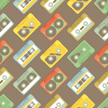Seamless Pattern with retro audiocassettes on brown background Vector