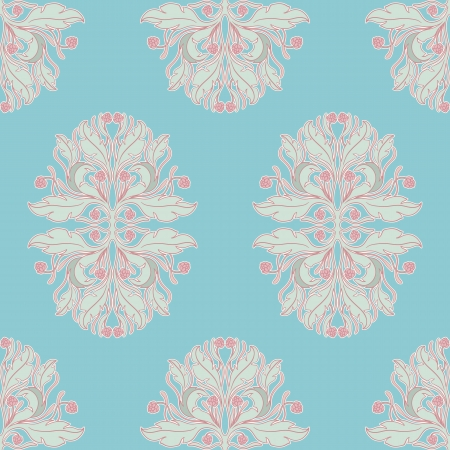 raspberry pink: Seamless blue floral pattern with pink berries