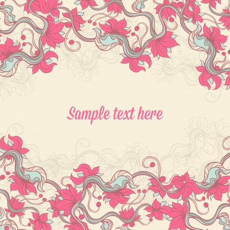 Beige background with pink flowers and place for text Stock Vector - 17915922
