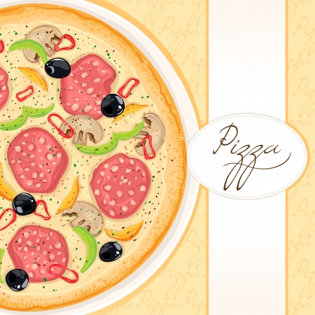 pizza place: background with delicious pizza with sausage and mushrooms with place for text