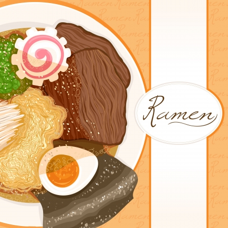 background with dish prepared with ramen with place for text Vector