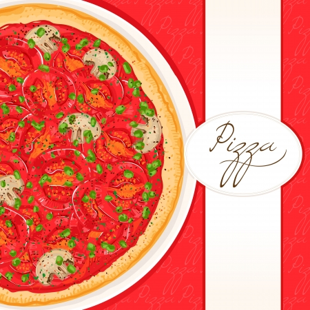pizza place: background with pizza with tomato and green onion with place for text