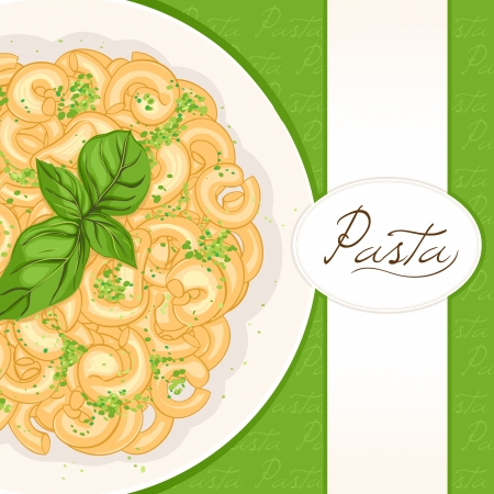 tomato sauce: background with plate of pasta with basil with place for text