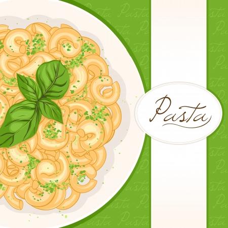 cultura italiana: sfondo con il piatto di pasta con basilico con posto per il testo Vettoriali