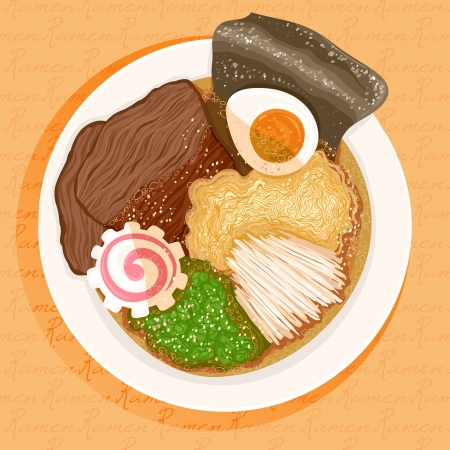 dish prepared with ramen with beef on an orange background Vector