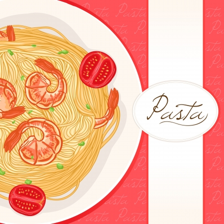background with a plate of pasta with shrimps with place for text