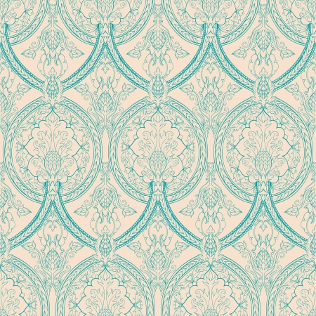 vintage beige and turquoise floral seamless pattern with pineapples