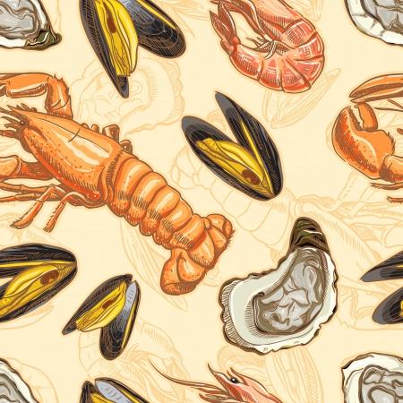 pescados y mariscos: productos del mar de fondo sin fisuras con langosta, ostras, mejillones y gambas Vectores