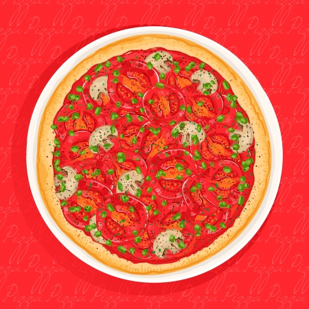 delicious pizza with tomato and green onion on a red background Vector