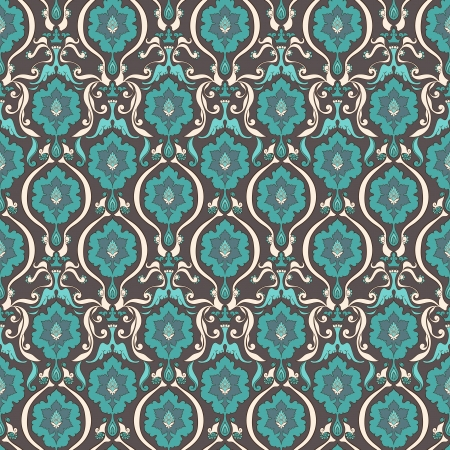 vintage beige and turquoise floral seamless pattern on brown background Vector