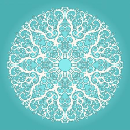청록색 배경에 라운드 흰색 레이스 패턴 스톡 콘텐츠 - 18379932