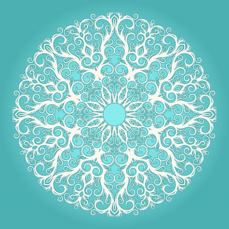 Round white lace pattern on a turquoise background
