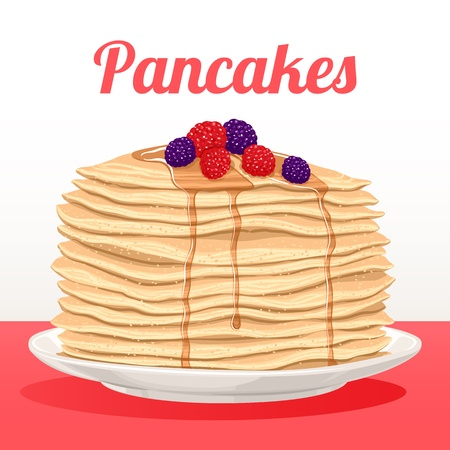 stack of pancakes with maple syrup and berries