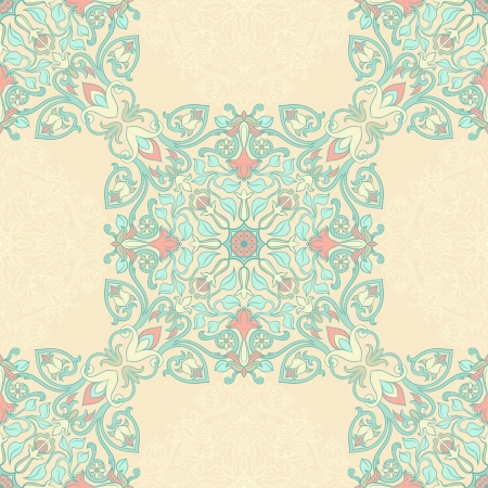 turqoise: turqoise and pink floral seamless pattern