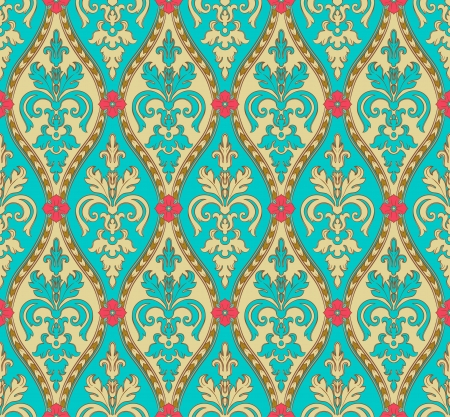 vintage torqoise and gold seamless pattern with pink flowers