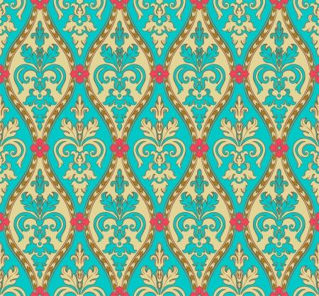papel tapiz turquesa: vendimia torqoise y el patr�n oro sin fisuras con flores de color rosa Vectores