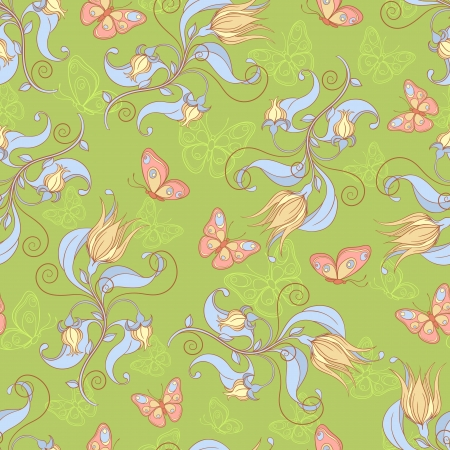 Seamless pattern with butterflies and flowers on a green background