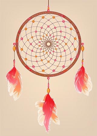 atrapasueños: atrapasueños tradicional rojo con plumas de color naranja y rosa y perlas Vectores
