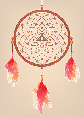 dreamcatcher: traditional dream catcher with red orange and pink feathers and beads
