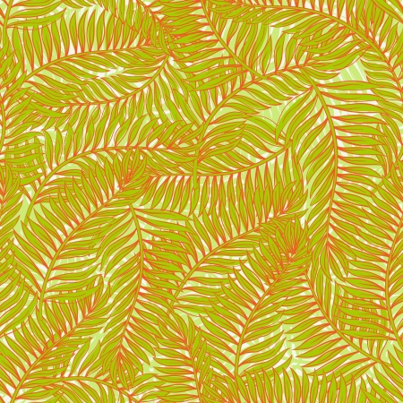 Seamless pattern with palm leaves on a green background Vector