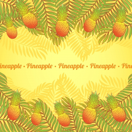 Summer background with palm leaves and pineapples Stock Vector - 18678586