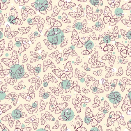 Beautiful seamless pattern with purple butterflies Vector