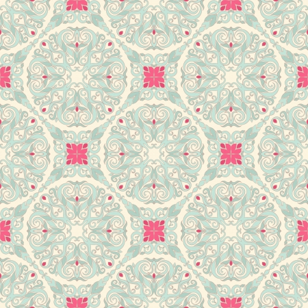 retro seamless leaf blue pattern on a beige background