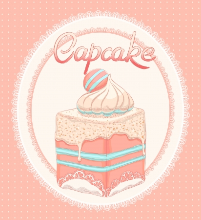 cute card with pink cake on a white lace oval background Vector