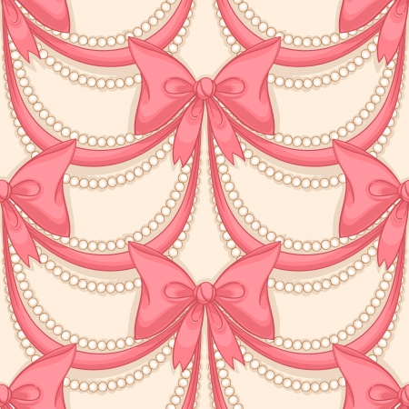 seamless background with pink bows and pearl necklace Vector