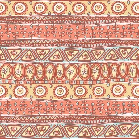 этнический: красивые племенные полосатый розовый и оранжевый орнамент Иллюстрация
