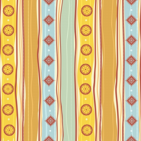 Tribal striped yellow and blue pattern Vector