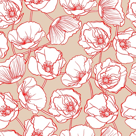 poppies: beautiful natural pattern with white poppies on a beige background