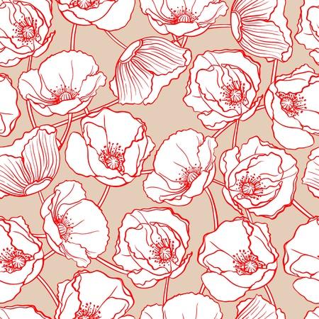 amapola: patr�n de belleza natural con amapolas blancas sobre un fondo de color beige Vectores