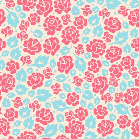 장미 꽃 봉오리와 잎 귀여운 복고풍 원활한 패턴 스톡 콘텐츠 - 19472826