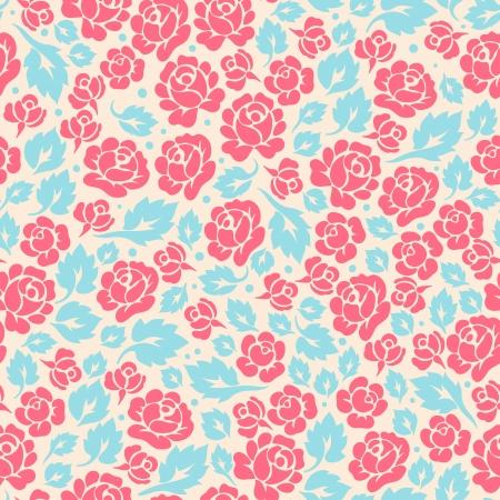 papel tapiz turquesa: Modelo incons�til retro lindo con los brotes y las hojas de rosa