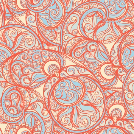repeating pattern: orange abstract natural pattern on a yellow background Illustration