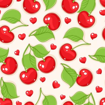 빨간 체리와 하트 여름 원활한 베이지 색 배경 스톡 콘텐츠 - 19687677
