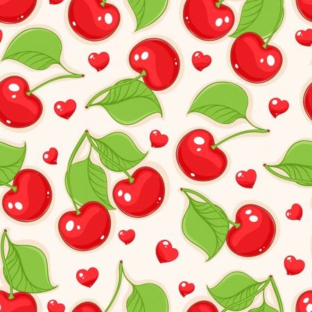 Summer seamless beige background with red cherries and hearts Stock Illustratie