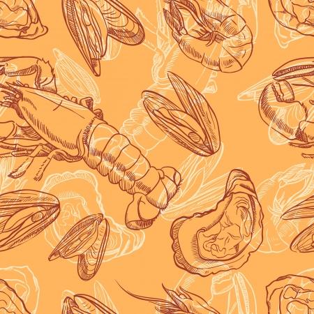 seafood  seamless background with seafood on orange background Illustration