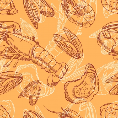 seafood  seamless background with seafood on orange background Illustration