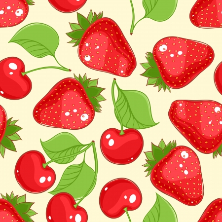 seamless background with ripe cherries and strawberries Vector