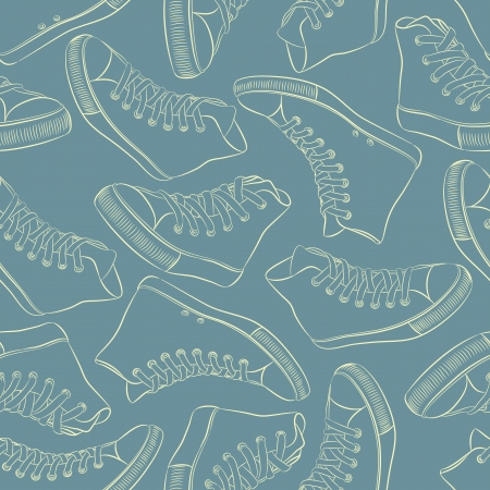 Seamless pattern with sneakers on blue background Stock Vector - 20229945