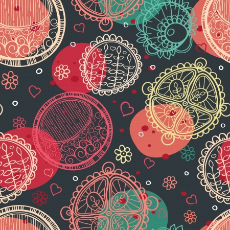 seamless colorful abstract background with round ornaments, flowers and hearts Illustration