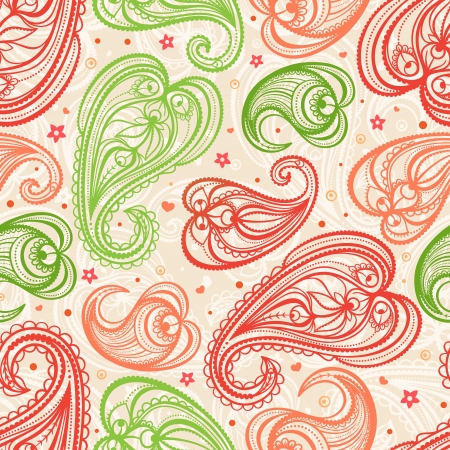 cute color paisley pattern on a beige background Vector