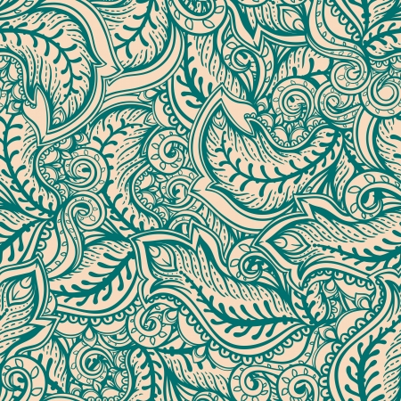beautiful green and beige abstract pattern with leaves and swirls Illustration